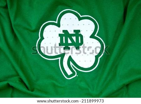 ZAGREB , CROATIA - AUGUST 19 , 2014 :  Notre Dame Boston University logo printed on textile equipment ,product shot    - stock photo
