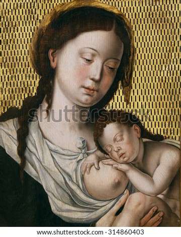 ZAGREB, CROATIA - DECEMBER 08: According to Jan Gossart: Madonna with the Child, Old Masters Collection, Croatian Academy of Sciences, December 08, 2014 in Zagreb, Croatia - stock photo