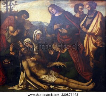 ZAGREB, CROATIA - DECEMBER 08: Benedetto Coda: Lamentation of Christ, Old Masters Collection, Croatian Academy of Sciences, December 08, 2014 in Zagreb, Croatia - stock photo