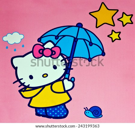 ZAGREB , CROATIA - DECEMBER 17. 2012 :  Hello kitty children cartoon character printed on box ,product shot - stock photo