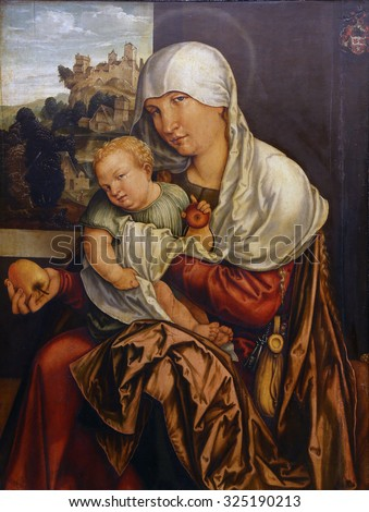 ZAGREB, CROATIA - DECEMBER 08: Jorg Breu: Madonna with the Child, Old Masters Collection, Croatian Academy of Sciences, December 08, 2014 in Zagreb, Croatia - stock photo
