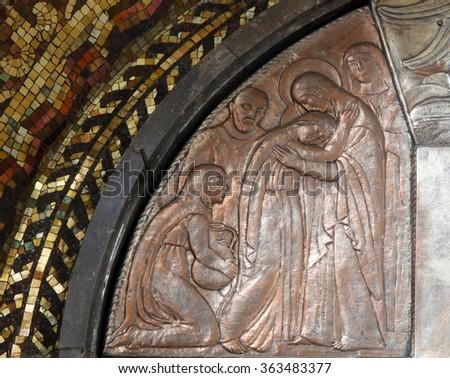 ZAGREB, CROATIA - DECEMBER 07: Visitation of the Virgin Mary, altar of the Virgin Mary in the church of Saint Blaise in Zagreb, Croatia on December 07, 2011 - stock photo