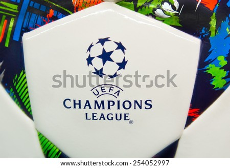 ZAGREB , CROATIA - 19 FEBRUARY 2015 - close up of European UEFA champions league logo on official football from Adidas, product shot - stock photo