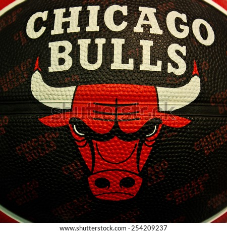 ZAGREB , CROATIA - 19 FEBRUARY 2015 - close up of NBA Chicago Bulls club logo printed on basketball ball, product shot - stock photo