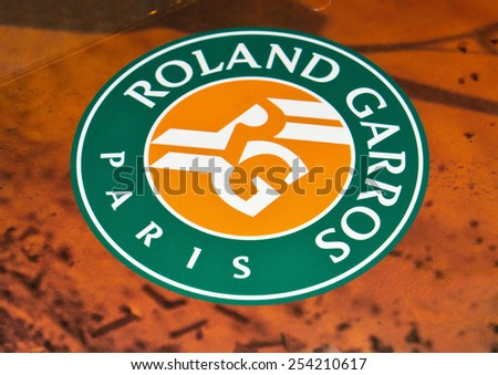 ZAGREB , CROATIA - 19 FEBRUARY 2015 - close up Tennis tournament Roland Garros printed on promo material, product shot - stock photo