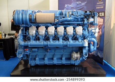 ZAGREB, CROATIA, FEBRUARY 20, 2015: Modern engine used on marine industry exhibited at the Zagreb Boat Show, on February 20, 2015. - stock photo