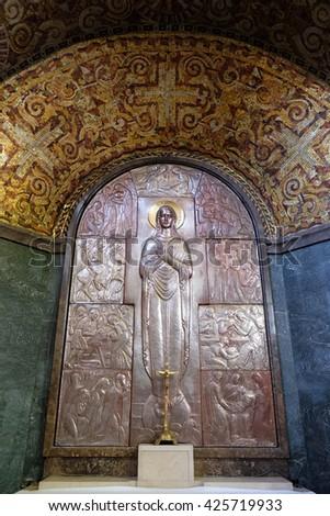 ZAGREB, CROATIA - JANUARY 31: Altar of the Virgin Mary in the church of Saint Blaise in Zagreb, Croatia on January 31, 2015 - stock photo
