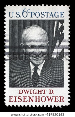 ZAGREB, CROATIA - JULY 03 : A stamp printed in USA shows Dwight D. Eisenhower, 34rd President (1890-1969), circa 1969, on July 03, 2012, Zagreb, Croatia - stock photo