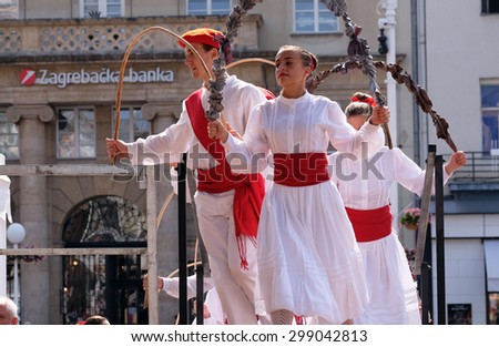 ZAGREB, CROATIA - JULY 16: Members of folk group Lagunekin from Bardos, France during the 49th International Folklore Festival in center of Zagreb, Croatia on July 16, 2015 - stock photo