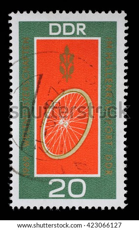 ZAGREB, CROATIA - JULY 02: Set of GDR stamps dedicated to Students Track cycling world championship in Erfurt, East Germany, circa 1969, on July 02, 2014, Zagreb, Croatia - stock photo