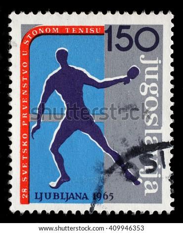 ZAGREB, CROATIA - JUNE 14: A stamp printed by Yugoslavia shows 28th World Table Tennis Championship in Ljubljana, circa 1965, on June 14, 2014, Zagreb, Croatia - stock photo