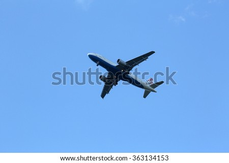 ZAGREB, CROATIA - JUNE 10: Airbus A320, registration 9A-CTJ of Croatia Airlines landing at Zagreb Airport Pleso on June 10, 2015. - stock photo