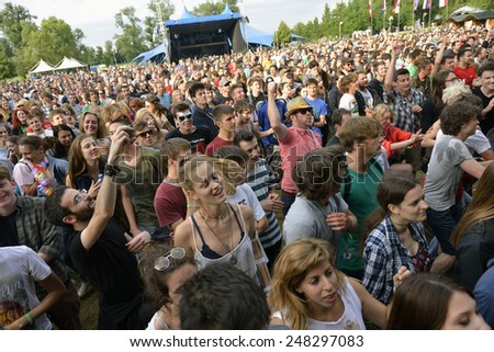 ZAGREB, CROATIA - 24 JUNE, 2014: Crowd enjoying the music at InMusic Festival. - stock photo