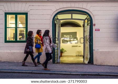 ZAGREB, CROATIA - 12 MARCH 2015: A view of the entrance to the Museum of Broken Relationships with tourists passing by. - stock photo