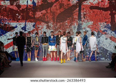 ZAGREB, CROATIA - MARCH 21, 2015: Fashion models wearing clothes designed by Marina Design on the 'Fashion.hr' fashion show - stock photo