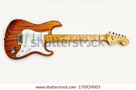 ZAGREB , CROATIA - MAY 27 ,2010 : fender stratocaster wooden electric guitar on white background , product shot - stock photo