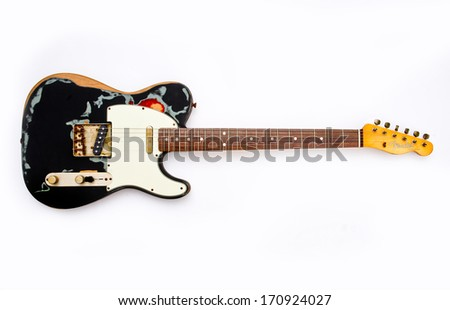 ZAGREB , CROATIA - MAY 27 ,2010 : fender telecaster wooden electric guitar on white background , product shot - stock photo