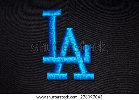 ZAGREB , CROATIA - May 7th , 2015 : MLB baseball club Los Angeles Dodgers logo on the textile   ,product shot - stock photo