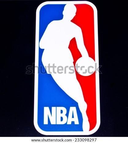 ZAGREB , CROATIA - NOVEMBER 25 , 2014 : American basketball NBA logo printed on product ,product shot - stock photo