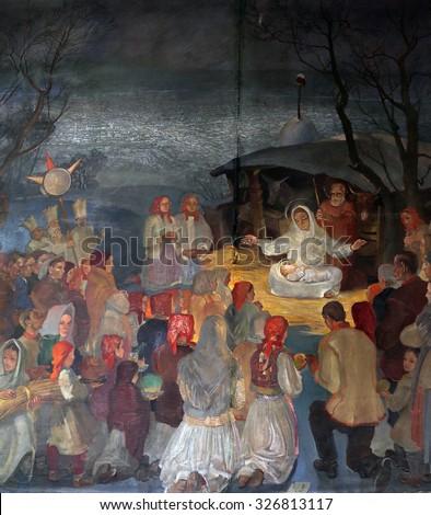 ZAGREB, CROATIA - NOVEMBER 21: Birth of Jesus, altarpiece in parish church of Saint Mark in Zagreb, Croatia on November 21, 2014 - stock photo