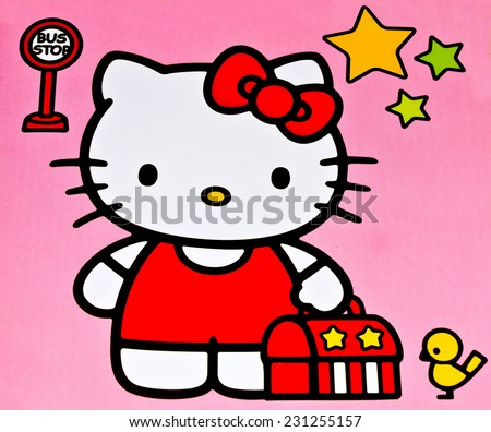 ZAGREB , CROATIA - NOVEMBER 6, 2014 :  children toy character Hello Kitty printed on box ,product shot - stock photo