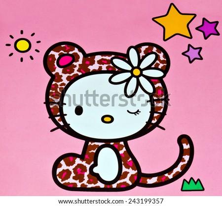 ZAGREB , CROATIA - NOVEMBER 29 , 2014 :  Hello kitty children cartoon character printed on box ,product shot - stock photo