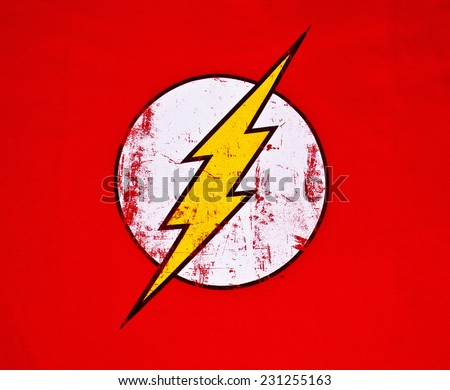 ZAGREB , CROATIA - NOVEMBER 6, 2014 :  Logo of superhero The Flash by DC comics printed on textile  ,product shot - stock photo