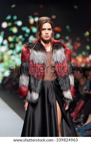 ZAGREB, CROATIA - OCTOBER 31, 2015: Fashion model wearing clothes designed by Boris Banovic on the 'Fashion.hr' fashion show - stock photo