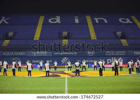 ZAGREB, CROATIA - OCTOBER 24, 2013: UEFA Europa league, group stage - GNK Dinamo Zagreb VS PSV Eindhoven. Stadium empty stand before the game. - stock photo
