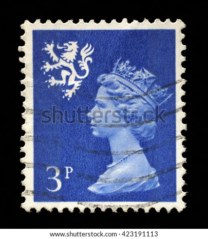 ZAGREB, CROATIA - SEPTEMBER 18: A Scottish Used Postage Stamp showing Portrait of Queen Elizabeth 2nd, circa 1958 to 1970, on September 18, 2014, Zagreb, Croatia - stock photo