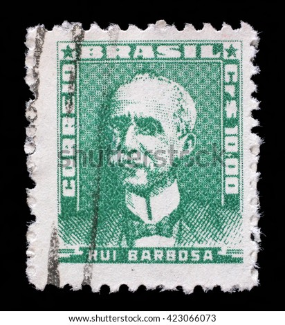 ZAGREB, CROATIA - SEPTEMBER 18: A stamp printed in Brazil, shows portrait of Ruy Barbosa, with the same inscription, from the series Portraits, circa 1954 - stock photo