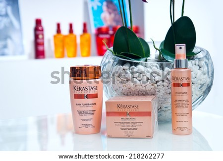 ZAGREB , CROATIA - SEPTEMBER 16 , 2014 -  Kerastase hair products , shampoo, mask, hairspray on the table , product shot - stock photo
