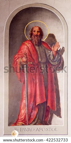 ZAGREB, CROATIA - SEPTEMBER 14: Saint Paul the Apostle, fresco in the Basilica of the Sacred Heart of Jesus in Zagreb, Croatia on September 14, 2015. - stock photo