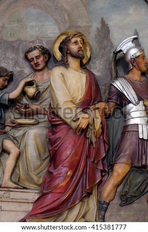 ZAGREB, CROATIA - SEPTEMBER 14: 1st Stations of the Cross, Jesus is condemned to death, Basilica of the Sacred Heart of Jesus in Zagreb, Croatia on September 14, 2015 - stock photo