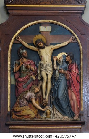 ZAGREB, CROATIA - SEPTEMBER 14: 12th Stations of the Cross, Jesus dies on the cross, Basilica of the Sacred Heart of Jesus in Zagreb, Croatia on September 14, 2015 - stock photo
