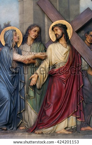ZAGREB, CROATIA - SEPTEMBER 14: 4th Stations of the Cross, Jesus meets His Mother, Basilica of the Sacred Heart of Jesus in Zagreb, Croatia on September 14, 2015 - stock photo