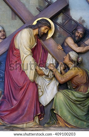 ZAGREB, CROATIA - SEPTEMBER 14: 6th Stations of the Cross, Veronica wipes the face of Jesus, Basilica of the Sacred Heart of Jesus in Zagreb, Croatia on September 14, 2015 - stock photo