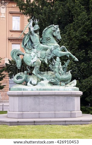 Zagreb, Croatia:Statue of St. George Slaying the Dragon by Anton Dominik von Fernkorn - stock photo