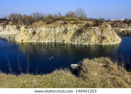 Zakrzowek lake, Krakow, Poland. Quarry under water.  - stock photo