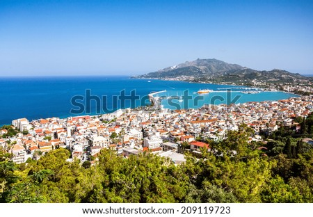 Zakynthos island city bay - stock photo