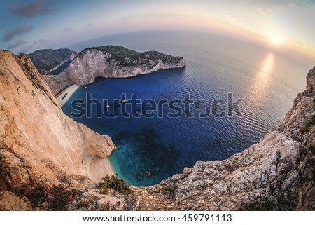 Zakynthos Navagio sunset in Greece. Artistic interpretation. - stock photo