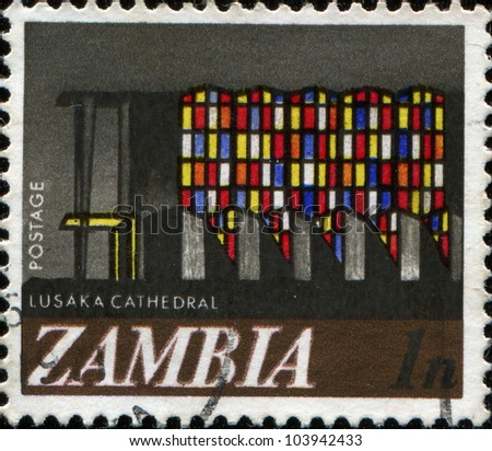 ZAMBIA - CIRCA 1968: A  stamp printed in the Republic of Zambia shows the Lusaka cathedral, circa 1968 - stock photo