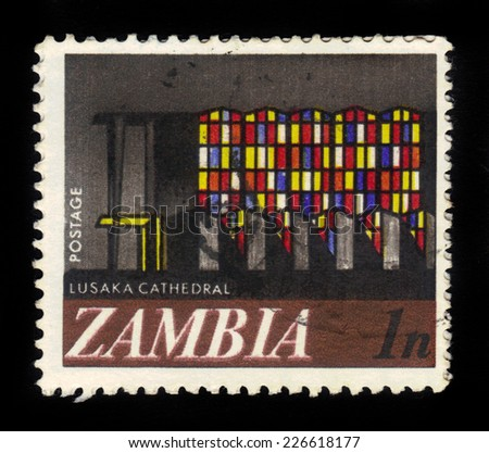 Zambia - CIRCA 1968: A stamp printed in Zambia shows Cathedral in Lusaka, circa 1968 - stock photo