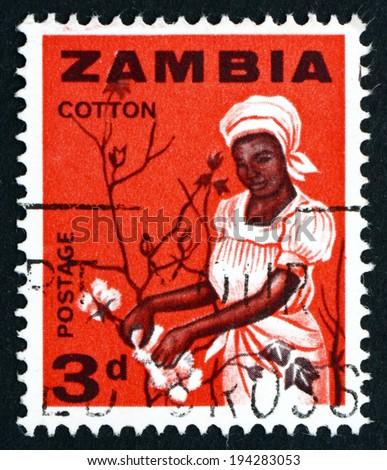 ZAMBIA - CIRCA 1964: a stamp printed in Zambia shows Woman Picking Cotton, circa 1964 - stock photo