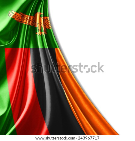 Zambia flag and white background - stock photo