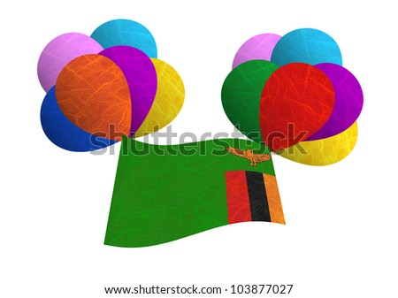 Zambia flag balloon on the wind. Mulberry paper on white background. - stock photo
