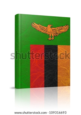 Zambia flag book. Mulberry paper on white background. - stock photo