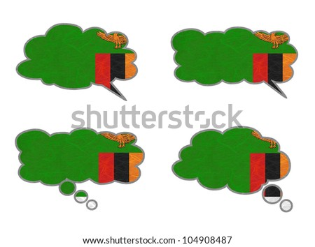 Zambia Flag. Dialog box recycled paper on white background. - stock photo