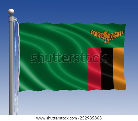 Zambia flag in pole on blue sky background - stock photo