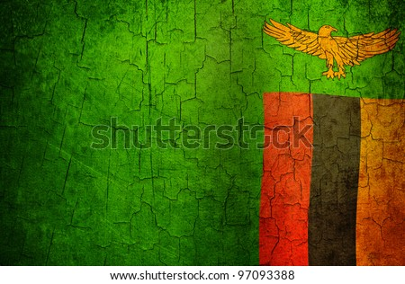 Zambia flag on a cracked grunge background - stock photo